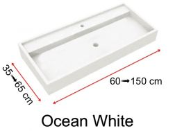 Custom-made natural stone washbasin, 45 x 130, with contemporary design - Ocean white