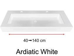 Stone washbasin plan, with built-in washbasin, 45 x 140, custom-made - Adriactic white