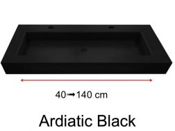 Stone washbasin plan, with built-in washbasin, 45 x 140, custom-made - Adriactic Black