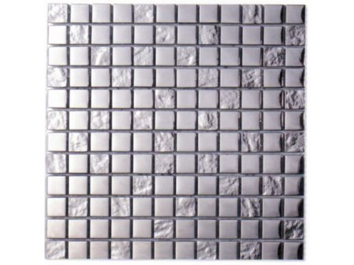 Malla Silver, Mosaic glass tile and polished stainless steel. Cevica