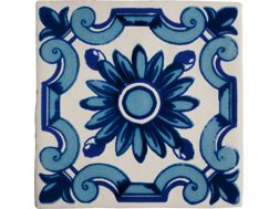 DEC FLOR AZUL ANTIC BLANCO 13 x 13 - Kitchen wall tiles, faience with irregular edges.