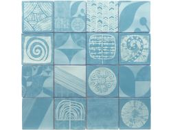 DEC SHIBORI TURQUESA SET 16P 13 x 13 - Kitchen wall tiles, faience with irregular edges.