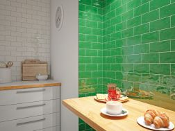 ANTIC VERDE 7,5 x 15 - Kitchen wall tile, faience with irregular edges.