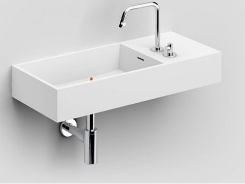Washbasin, 75 x 32 cm, Cristalplant� solid surface, tap on the right - CLOU WASHME