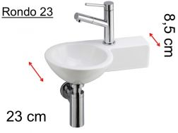 Washbowl toilet with art deco design, ceramic � 23 cm, tap right - Rondo 23 Benesan.