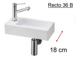 Ultra-small hand basin, ceramic, depth 18 cm, tap on the left - RECTO 36 Benesan