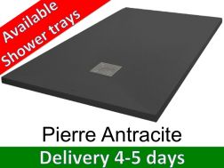 Shower tray 140 cm, in resin, small size and big size extra flat - Pierre anthracite