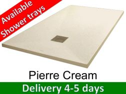 Shower tray 155 cm, in resin, small size and big size extra flat - Pierre cream
