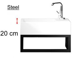 Toilet washbasin with art-deco design, with matt black lacquered steel frame - Steel