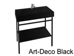 Art-deco black steel console with vanity basin in black mineral resin 80 - 90 - 100 - 120 cm