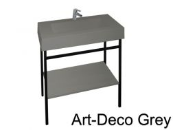 Art-deco black steel console with vanity basin in grey mineral resin 80 - 90 - 100 - 120 cm