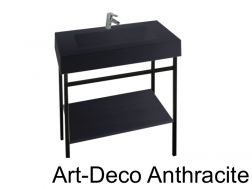 Art-deco black steel console with vanity basin in anthracite mineral resin 80 - 90 - 100 - 120 cm