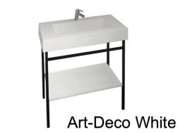 Art-deco black steel console with vanity basin in white mineral resin 80 - 90 - 100 - 120 cm