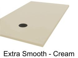 Shower tray, 70 - 80 - 90 - 100 x 130 cm, in mineral resin, totally smooth - Extra cream Liso