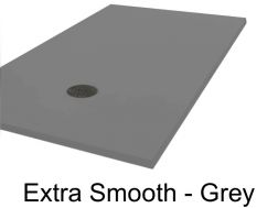 Shower tray, 70 - 80 - 90 - 100 x 130 cm, in mineral resin, totally smooth - Extra grey Liso