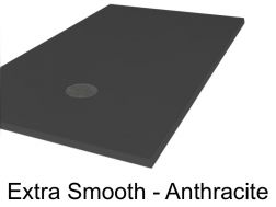 Shower tray, 70 - 80 - 90 - 100 x 140 cm, in mineral resin, totally smooth - Extra anthracite Liso