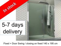 Fixed glass with fixed closing shower door 140 x 195 - Open Combi E