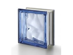 Glass block, transparent block - metallic corrugated - BLU Q19 O MET Pegasus 20 x 20