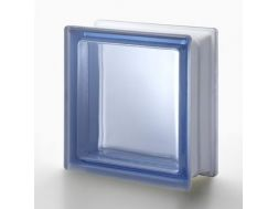 Glass block, transparent block - satin smooth one side - BLU Q19 T SAT 1 LATO Pegasus 20 x 20