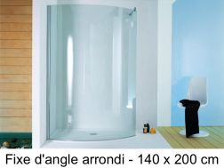 Corner shower enclosure, 140 x 200 cm, fixed glass - Open Surf