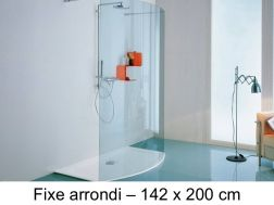 Round shower enclosure, 142 x 200 cm, fixed glass - Open Smile