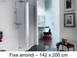 Corner shower enclosure, 140 x 200 cm, fixed glass - Open Spin
