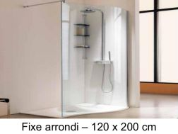 Corner shower enclosure, 120 x 200 cm, fixed glass - Open Sway