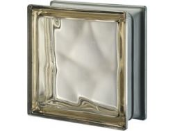 Glass block, transparent block - metallic corrugated - SIENA Q19 O MET Pegasus 20 x 20