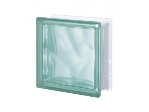 Glass block, transparent block - satin corrugated one side - VERDE Q19 O SAT 1 LATO Pegasus 20 x 20