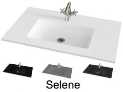 Washbasin top 91 x 46 cm, suspended or recessed, in mineral resin, made on gauge - Selene