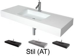 Washbasin top 50 x 200 cm, suspended or recessed, in mineral resin, made on gauge - STIL (AT)