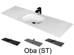 Washbasin top 50 x 140 cm, suspended or recessed, in mineral resin, made on gauge - OBA (ST)