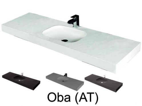 Washbasin top 50 x 150 cm, suspended or recessed, in mineral resin, made on gauge - OBA (AT)