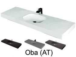 Washbasin top 50 x 200 cm, suspended or recessed, in mineral resin, made on gauge - OBA (AT)