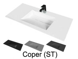 Washbasin top 50 x 150 cm, suspended or recessed, in mineral resin, made on gauge - COPER (ST)