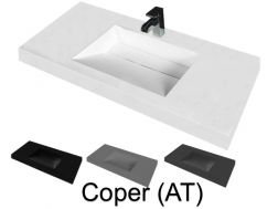 Washbasin top 50 x 150 cm, suspended or recessed, in mineral resin, made on gauge - COPER (AT)