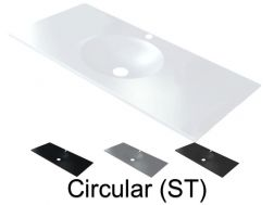 Washbasin top 50 x 160 cm, suspended or recessed, in mineral resin, made on gauge - Circular (ST)