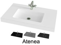 Washbasin top 140 x 46 cm, suspended or recessed, in mineral resin, made on gauge - Atenea