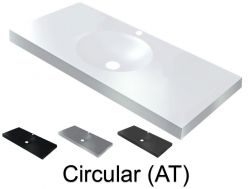 Washbasin top 150 x 46 cm, suspended or recessed, in mineral resin, made on gauge - Circular (AT)