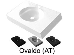 Washbasin top 90 x 46 cm, suspended or recessed, in mineral resin, made on gauge - Ovalado (AT)