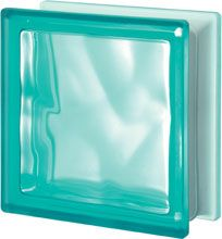 Glass block, transparent block - satin corrugated one side - TURCHESE Q19 O SAT 1 LATO Pegasus 20 x 20
