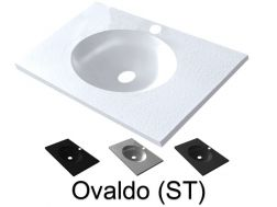 Washbasin top 50 x 150 cm, suspended or recessed, in mineral resin, made on gauge - Ovalado (ST)