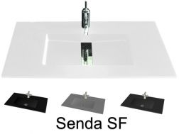 Washbasin top 46 x 130 cm, suspended or recessed, in mineral resin, made on gauge - Senda (SF)