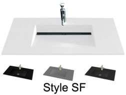 Washbasin top 46 x 200 cm, suspended or recessed, in mineral resin, made on gauge - Style SF