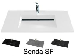 Washbasin top 46 x 140 cm, suspended or recessed, in mineral resin, made on gauge - Style SF