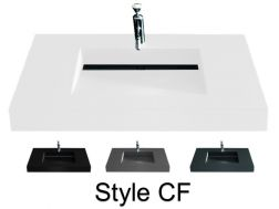 Washbasin top 46 x 130 cm, suspended or recessed, in mineral resin, made on gauge - Style CF