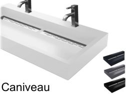 Double Vanity hanging or to put, width 50 x 90 cm, in resin, Channel Double Vasque suspendue ou à poser, largeur 50 x 90 cm, en résine, Caniveau anthracite