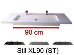 Washbasin top 50 x 130 cm, suspended or recessed, in mineral resin, made on gauge - STIL XL90 (ST)
