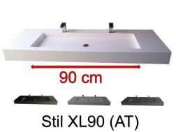 Washbasin top 50 x 150 cm, suspended or recessed, in mineral resin, made on gauge - STIL XL90 (AT)