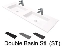 Double washbasin suspended or built-in, 50 x 140, in resin - Still double basin ST